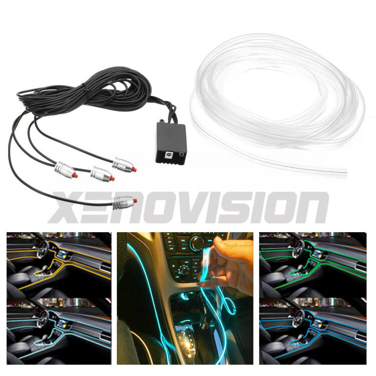 <p>&nbsp;</p> <p>Colorful RGB&nbsp; LED glow fiber car interior atmosphere lights. Easily change color and brightness as you wish with an App.</p>