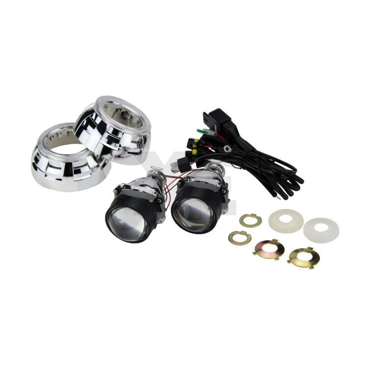 """<!DOCTYPE html> <html> <head> </head> <body> <p>Complete set for Retrofit: 2.5 """"bi-xenon projectors, covers and relays. Best quality / price ratio on the market.</p> </body> </html>"""